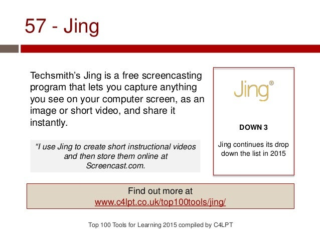 57 - Jing Techsmith's Jing is a free screencasting program that lets you capture anything you see on your computer screen,...