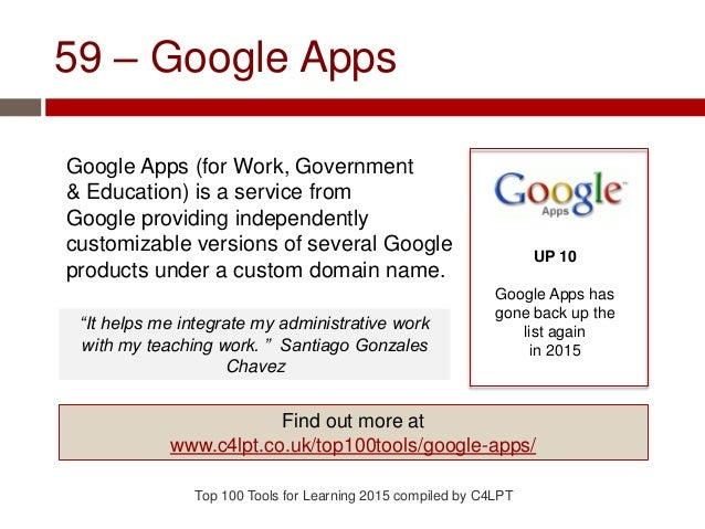 59 – Google Apps Google Apps (for Work, Government & Education) is a service from Google providing independently customiza...