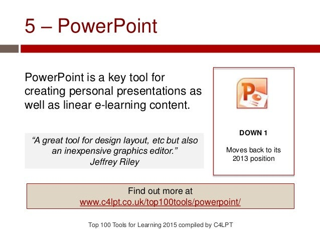 5 – PowerPoint PowerPoint is a key tool for creating personal presentations as well as linear e-learning content. Top 100 ...