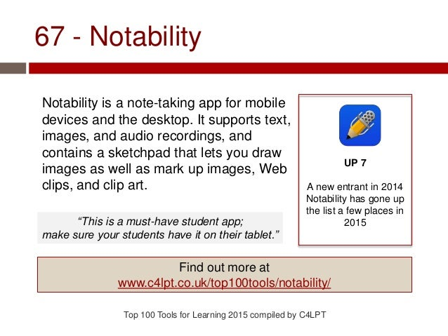67 - Notability Notability is a note-taking app for mobile devices and the desktop. It supports text, images, and audio re...