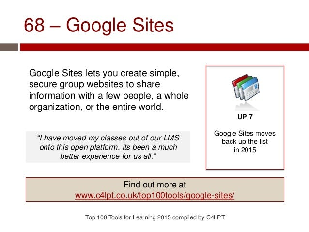68 – Google Sites Google Sites lets you create simple, secure group websites to share information with a few people, a who...