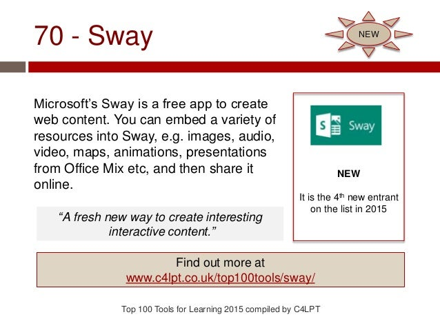 70 - Sway Microsoft's Sway is a free app to create web content. You can embed a variety of resources into Sway, e.g. image...