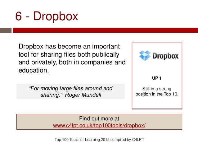 6 - Dropbox Dropbox has become an important tool for sharing files both publically and privately, both in companies and ed...