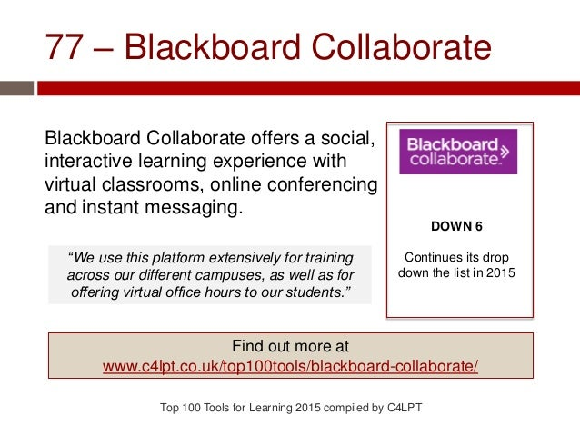77 – Blackboard Collaborate Blackboard Collaborate offers a social, interactive learning experience with virtual classroom...