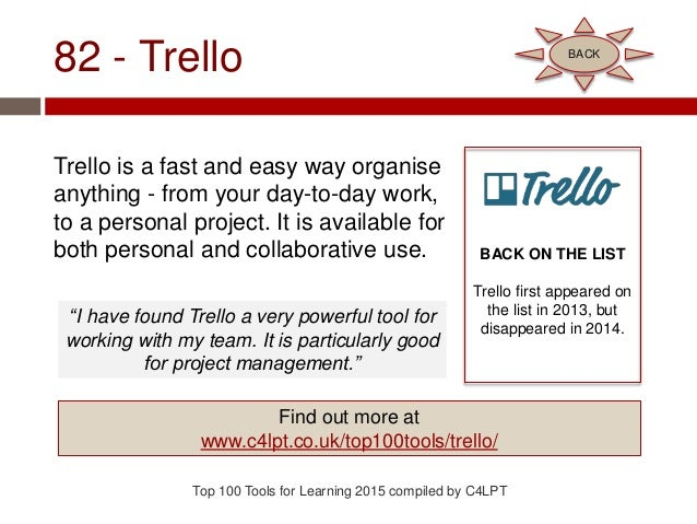 82 - Trello Trello is a fast and easy way organise anything - from your day-to-day work, to a personal project. It is avai...