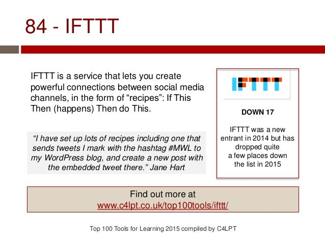 "84 - IFTTT IFTTT is a service that lets you create powerful connections between social media channels, in the form of ""rec..."