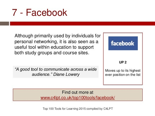 7 - Facebook Although primarily used by individuals for personal networking, it is also seen as a useful tool within educa...