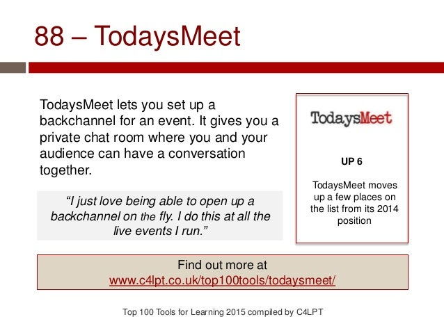 88 – TodaysMeet TodaysMeet lets you set up a backchannel for an event. It gives you a private chat room where you and your...