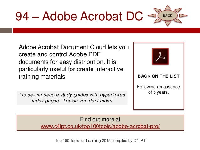 94 – Adobe Acrobat DC Adobe Acrobat Document Cloud lets you create and control Adobe PDF documents for easy distribution. ...