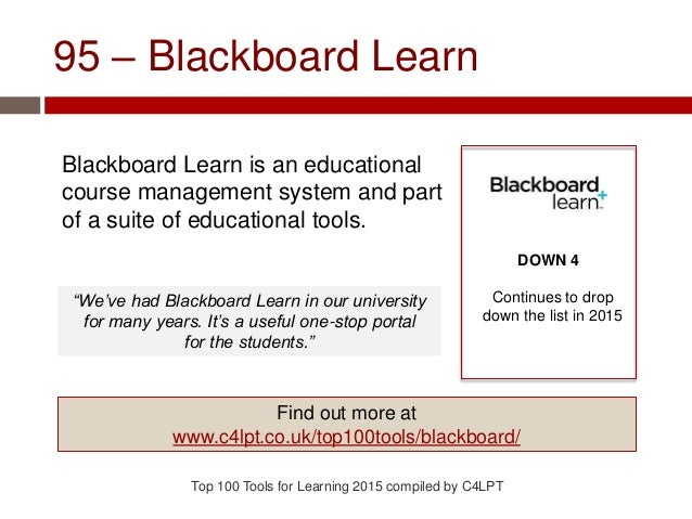 95 – Blackboard Learn Blackboard Learn is an educational course management system and part of a suite of educational tools...