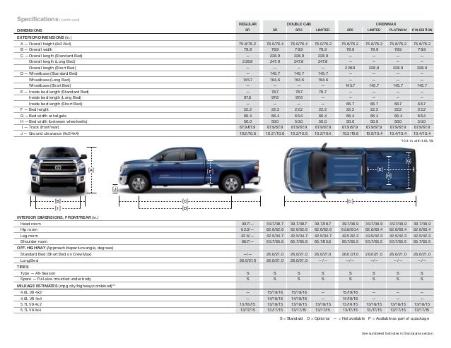 2015 Toyota Tundra Brochure Vehicle Details