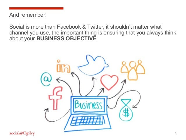 21 And remember! Social is more than Facebook & Twitter, it shouldn't matter what channel you use, the important thing is ...
