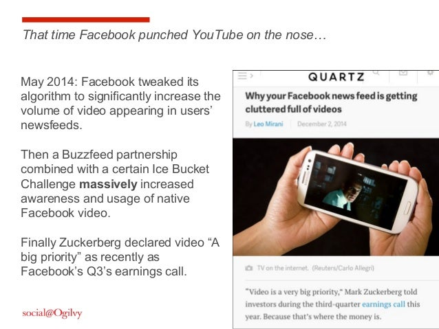 23 May 2014: Facebook tweaked its algorithm to significantly increase the volume of video appearing in users' newsfeeds. T...