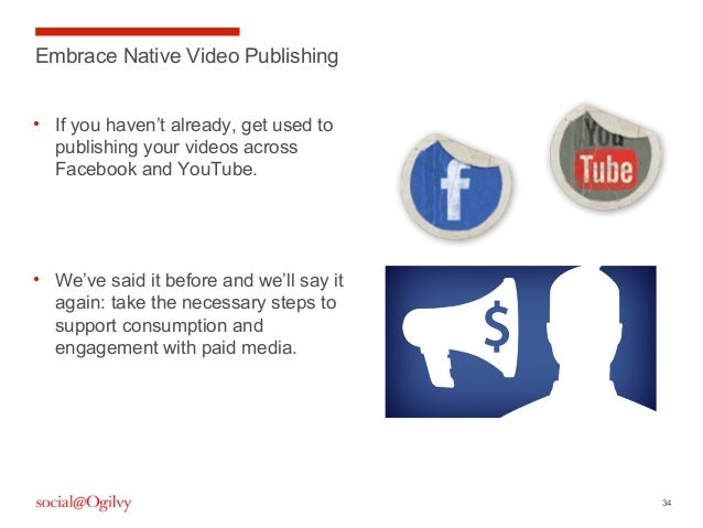 34 • If you haven't already, get used to publishing your videos across Facebook and YouTube. • We've said it before and we...