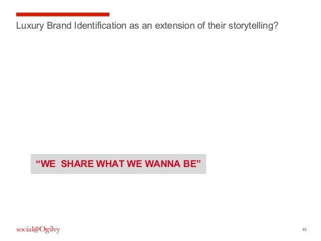 """43 Luxury Brand Identification as an extension of their storytelling? """"WE SHARE WHAT WE WANNA BE"""""""