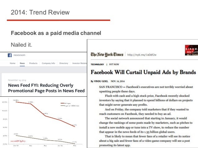 2014: Trend Review Facebook as a paid media channel Nailed it.