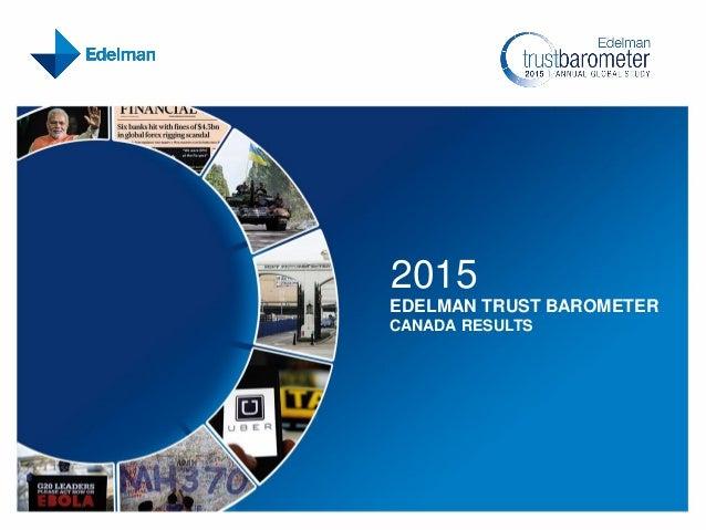 2015 EDELMAN TRUST BAROMETER CANADA RESULTS