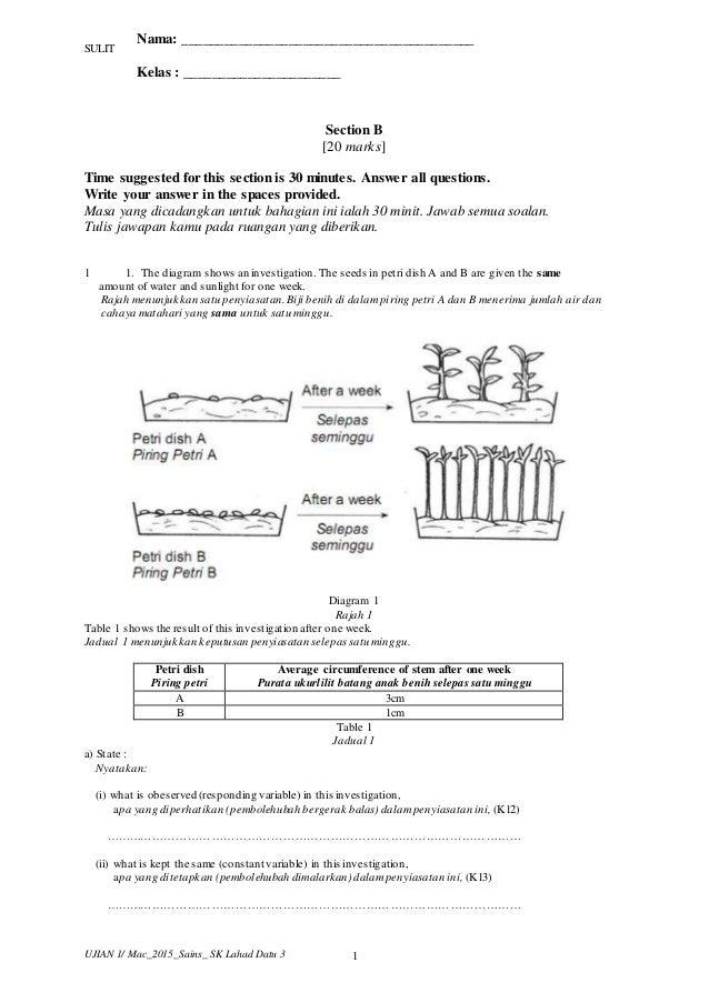 2015 Ujian 1 Sains Tahun 6 Bahagian B