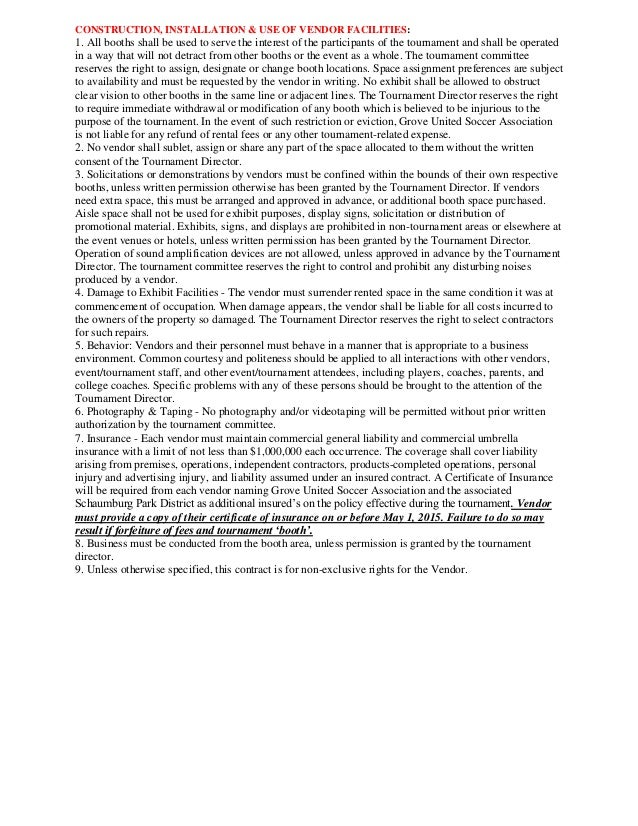 Grove United VendorSponsor Contract – Food Vendor Contract