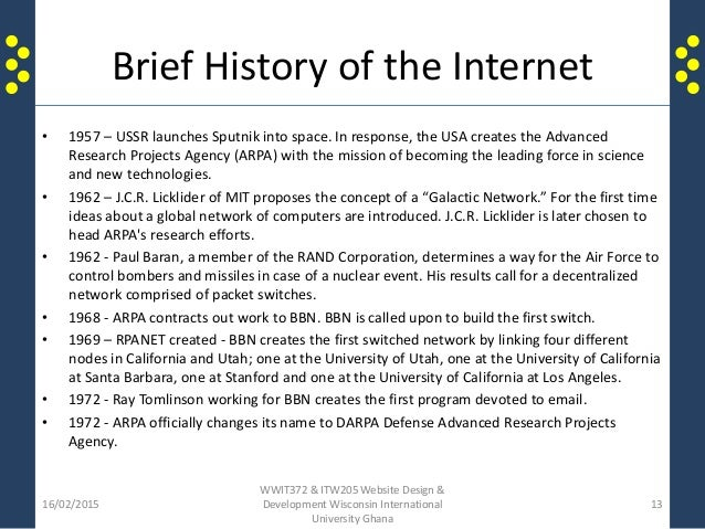 a brief history on the development of the internet The history of the web from w3c if they're important for learning web development they'll be if you are already familiar with the history of the internet.