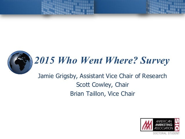 2015 Who Went Where? Survey Jamie Grigsby, Assistant Vice Chair of Research Scott Cowley, Chair Brian Taillon, Vice Chair