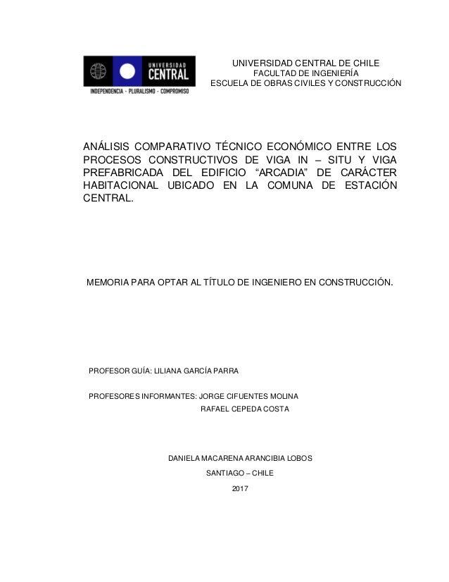 ANÁLISIS COMPARATIVO TÉCNICO ECONÓMICO ENTRE LOS PROCESOS CONSTRUCTIVOS DE VIGA IN – SITU Y VIGA PREFABRICADA DEL EDIFICIO...