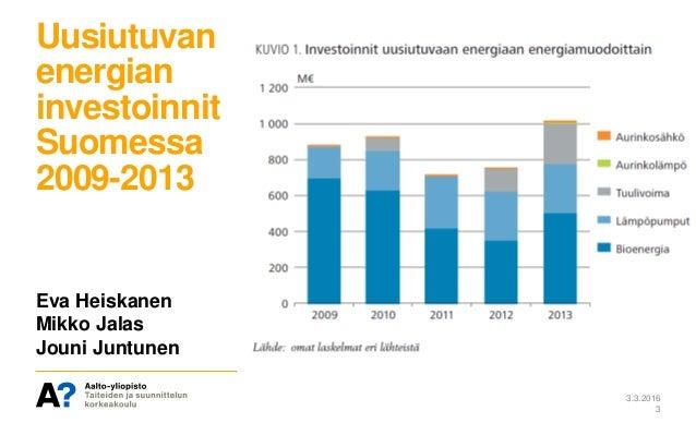 Uusiutuvan energian investoinnit Suomessa 2009-2013 3.3.2016 3 Eva Heiskanen Mikko Jalas Jouni Juntunen