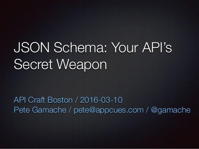 JSON Schema: Your API's Secret Weapon API Craft Boston / 2016-03-10 Pete Gamache / pete@appcues.com / @gamache