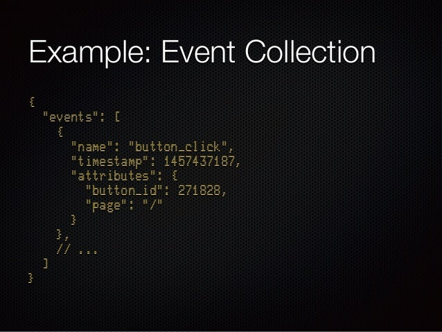 """Example: Event Collection { """"events"""": [ { """"name"""": """"button_click"""", """"timestamp"""": 1457437187, """"attributes"""": { """"button_i..."""