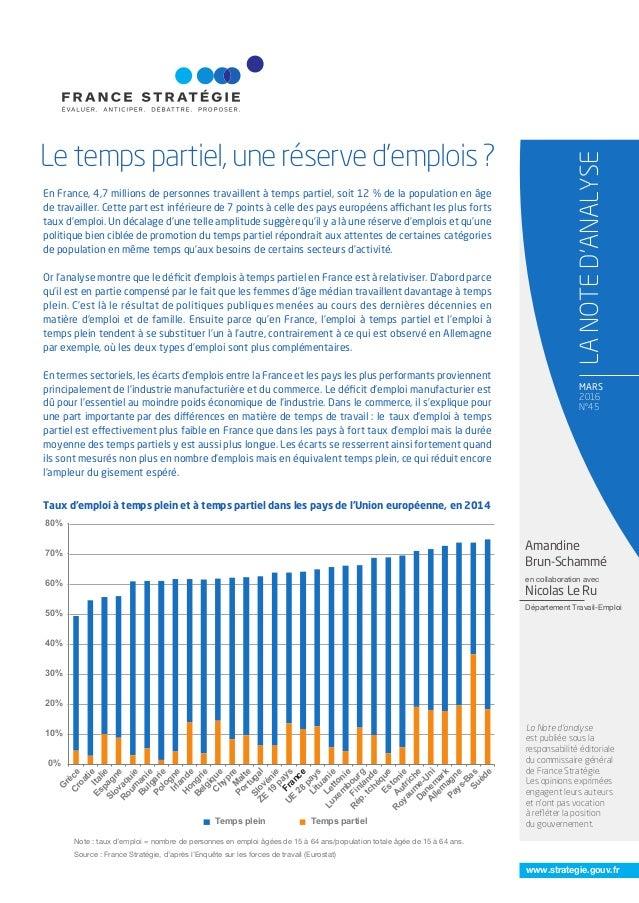 www.strategie.gouv.fr MARS 2016 N°45 Le temps partiel, une réserve d'emplois ? LANOTED'ANALYSE La Note d'analyse est publi...