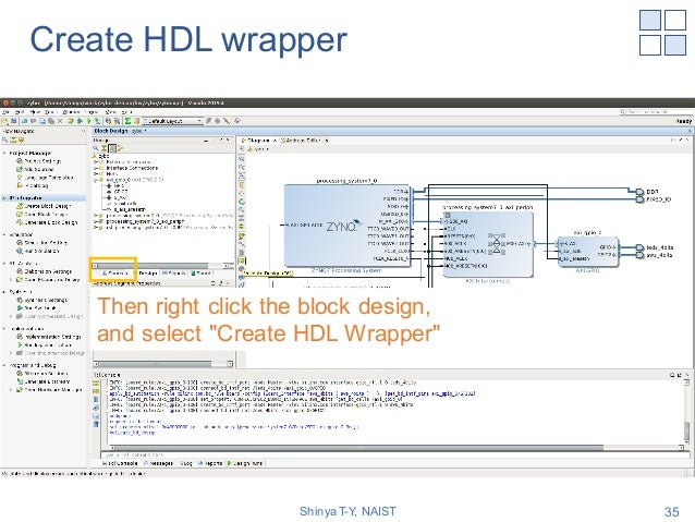 """Create HDL wrapper Shinya T-Y, NAIST 35 Then right click the block design, and select """"Create HDL Wrapper"""""""