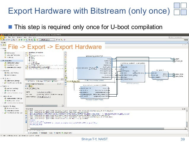 Export Hardware with Bitstream (only once) n This step is required only once for U-boot compilation Shinya T-Y, NAIST 39 F...