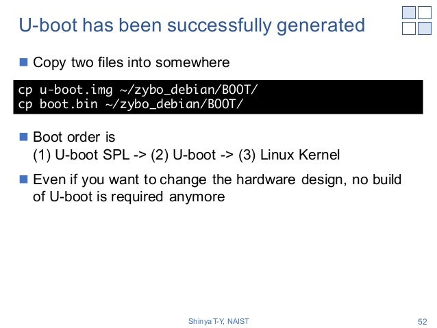 U-boot has been successfully generated n Copy two files into somewhere n Boot order is (1) U-boot SPL -> (2) U-boot -> (3)...