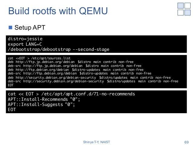 Build rootfs with QEMU n Setup APT Shinya T-Y, NAIST 69 distro=jessie export LANG=C /debootstrap/debootstrap --second-stag...