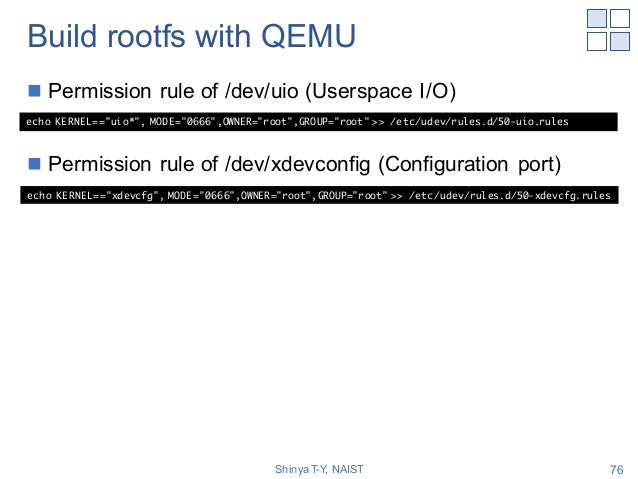 Build rootfs with QEMU n Permission rule of /dev/uio (Userspace I/O) n Permission rule of /dev/xdevconfig (Configuration p...