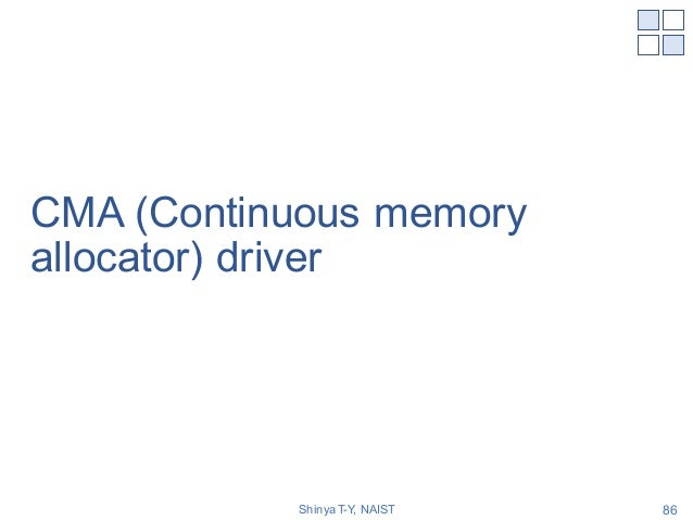 CMA (Continuous memory allocator) driver Shinya T-Y, NAIST 86