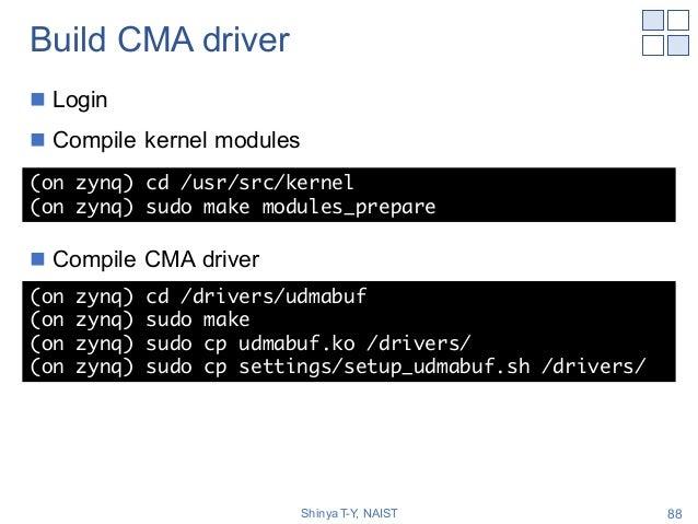 Build CMA driver n Login n Compile kernel modules n Compile CMA driver Shinya T-Y, NAIST 88 (on zynq) cd /usr/src/kernel (...