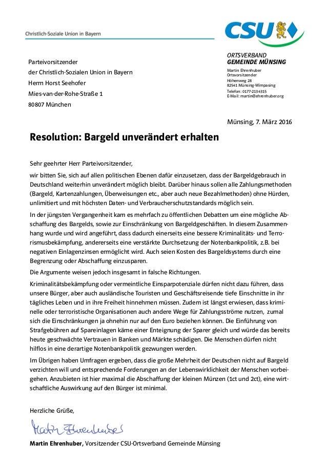 ORTSVERBAND GEMEINDE MÜNSING Martin Ehrenhuber Ortsvorsitzender Höhenweg 28 82541 Münsing-Wimpasing Telefon: 0177-2134315 ...