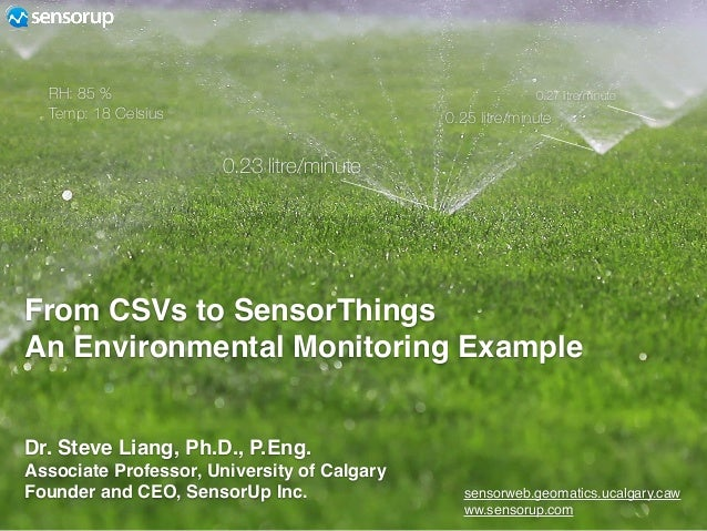 From CSVs to SensorThings An Environmental Monitoring Example sensorweb.geomatics.ucalgary.caw ww.sensorup.com 0.23 litre/...