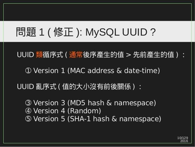10/129 2016 問題 1 ( 修正 ): MySQL UUID ? UUID 類循序式 ( 通常後序產生的值 > 先前產生的值 ) : ➀ Version 1 (MAC address & date-time) UUID 亂序式 ( 值...