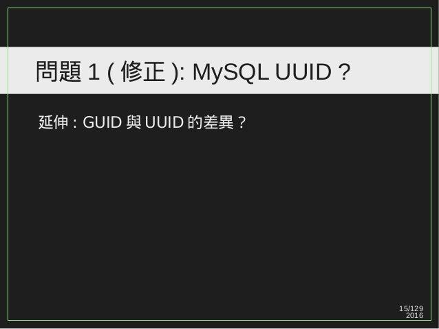15/129 2016 問題 1 ( 修正 ): MySQL UUID ? 延伸 : GUID 與 UUID 的差異?