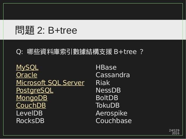 24/129 2016 問題 2: B+tree Q: 哪些資料庫索引數據結構支援 B+tree ? MySQL Oracle Microsoft SQL Server PostgreSQL MongoDB CouchDB LevelDB Ro...