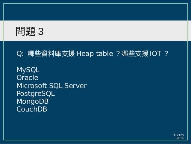 2016 48/129 問題 3 Q: 哪些資料庫支援 Heap table ?哪些支援 IOT ? MySQL Oracle Microsoft SQL Server PostgreSQL MongoDB CouchDB