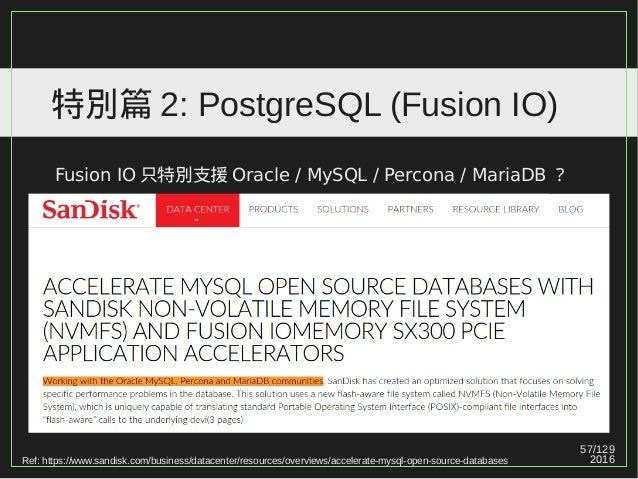 57/129 2016 特別篇 2: PostgreSQL (Fusion IO) Fusion IO 只特別支援 Oracle / MySQL / Percona / MariaDB ? Ref: https://www.sandisk.co...