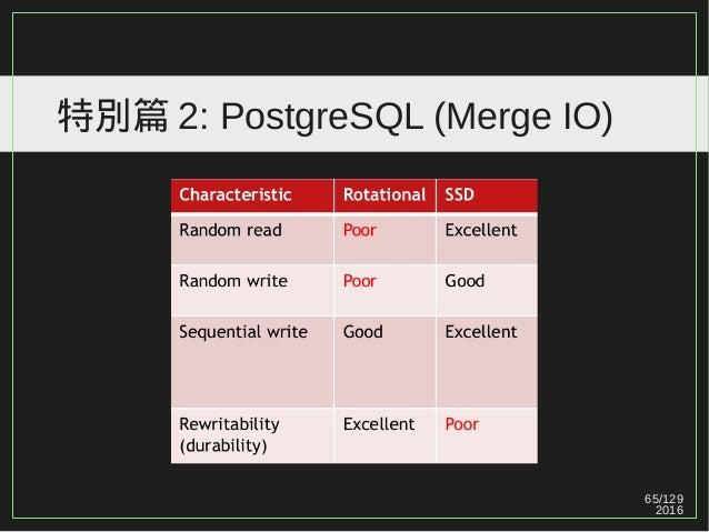 65/129 2016 特別篇 2: PostgreSQL (Merge IO)