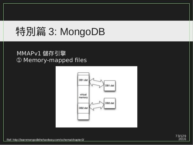 73/129 2016 特別篇 3: MongoDB MMAPv1 儲存引擎 ➀ Memory-mapped files Ref: http://learnmongodbthehardway.com/schema/chapter3/