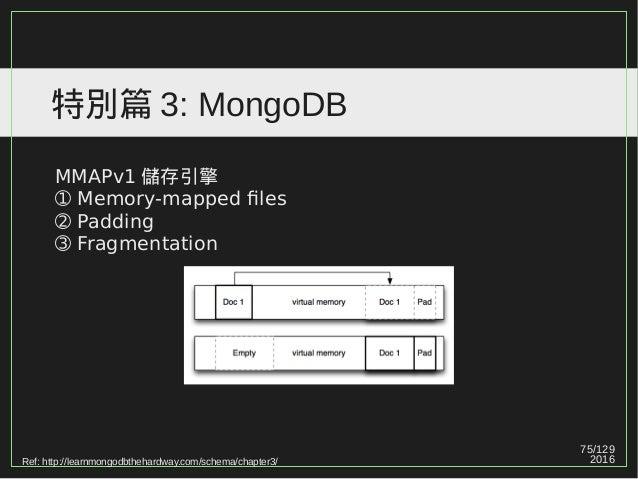 75/129 2016 特別篇 3: MongoDB MMAPv1 儲存引擎 ➀ Memory-mapped files ➁ Padding ➂ Fragmentation Ref: http://learnmongodbthehardway....