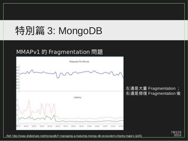 78/129 2016 特別篇 3: MongoDB MMAPv1 的 Fragmentation 問題 Ref: http://www.slideshare.net/mongodb/7-managing-a-maturing-mongo-db...