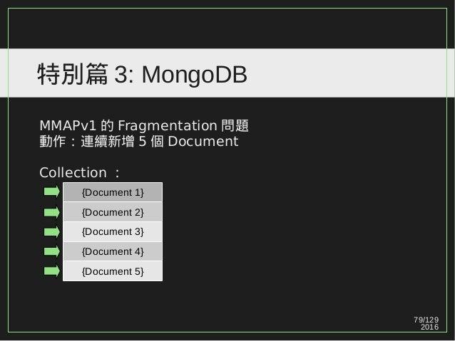 79/129 2016 特別篇 3: MongoDB MMAPv1 的 Fragmentation 問題 動作:連續新增 5 個 Document Collection : {Document 1} {Document 2} {Document...