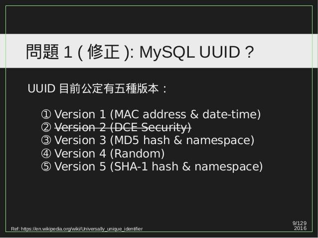 9/129 2016 問題 1 ( 修正 ): MySQL UUID ? UUID 目前公定有五種版本: ➀ Version 1 (MAC address & date-time) ➁ Version 2 (DCE Security) ➂ Ve...